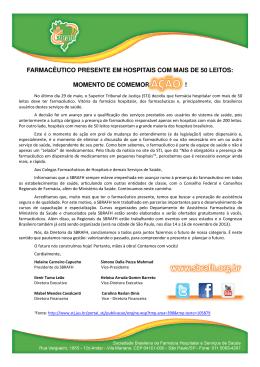 FARMACÊUTICO PRESENTE EM HOSPITAIS COM MAIS DE 50