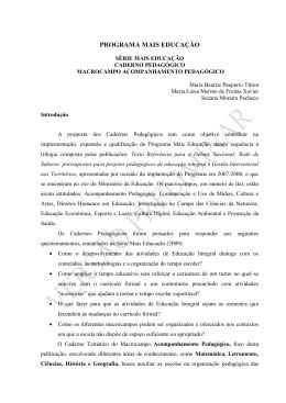 PROGRAMA MAIS EDUCAÇÃO - Ministério da Educação
