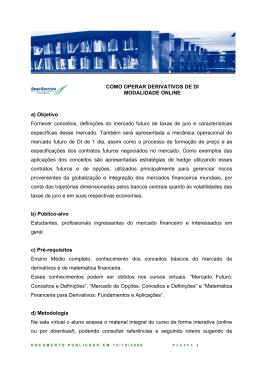 COMO OPERAR DERIVATIVOS DE DI MODALIDADE ONLINE a