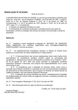 RESOLUÇÃO Nº 0218/2001