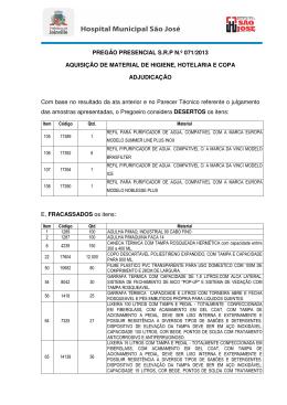 PREGÃO PRESENCIAL S.R.P N.º 071/2013 AQUISIÇÃO DE