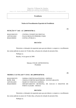 Index of - Superior Tribunal de Justiça