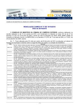 RESOLUÇÃO CAMEX Nº 77 DE 19/10/2010 DOU de 20