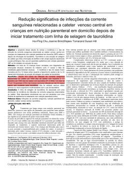 Redução significativa da infecção em Nutrição Parenteral
