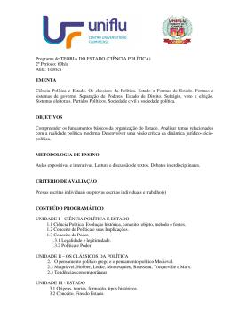 Programa de TEORIA DO ESTADO (CIÊNCIA POLÍTICA