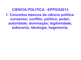 CIENCIA POLITICA - EPPGG2013 1. Conceitos básicos da