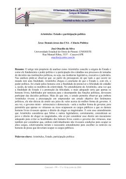 Aristóteles: Estado e participação política Área: Demais