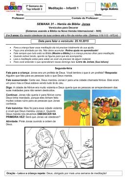 Meditação – Infantil 1 SEMANA 31 – Heróis da Bíblia: Jonas