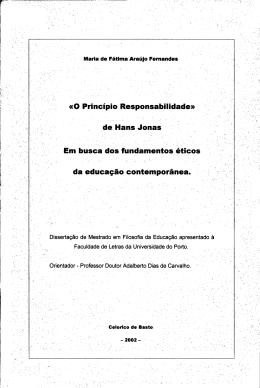 O Princípio Responsabilidade de Hans Jonas