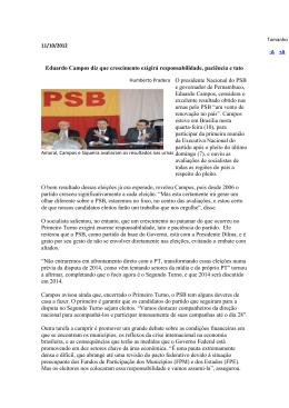 Eduardo Campos diz que crescimento exigirá responsabilidade