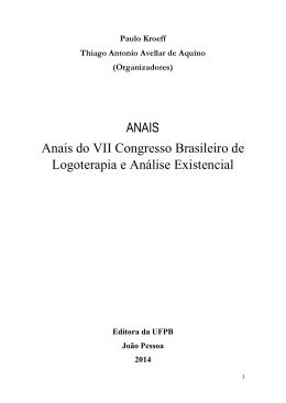 ANAIS Anais do VII Congresso Brasileiro de Logoterapia e