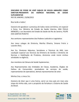 DISCURSO DE POSSE DE JOSÉ CARLOS DE SOUZA ABRAHÃO