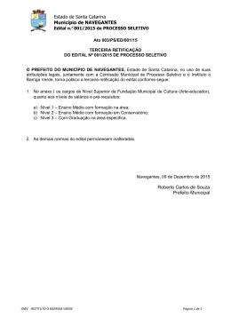 retificação iii - processo seletivo nº 001/2015