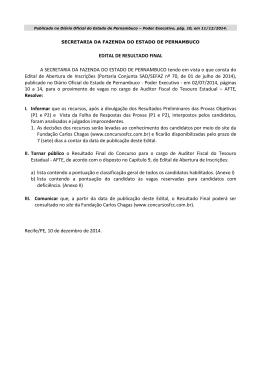 EDITAL DE RESULTADO FINAL A SECRETARIA DA FAZENDA DO
