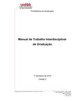 Manual de Trabalho Interdisciplinar de Graduação - Uni-BH