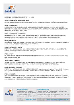 PANTANAL COM BONITO EXCLUSIVO – 16 DIAS