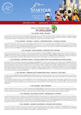 ORLANDO STAR JULHO 2015 12 DIAS com caneca inclusa!