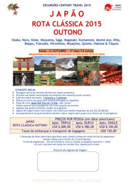 J A P Ã O - Century Travel e Turismo