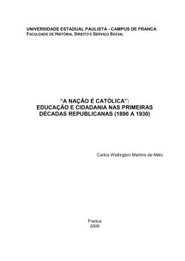 """""""A NAÇÃO É CATÓLICA"""": EDUCAÇÃO E CIDADANIA NAS"""