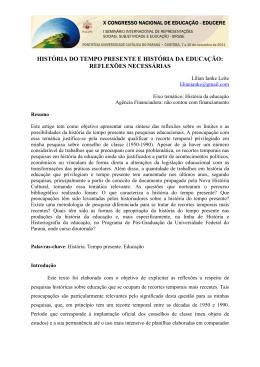 HISTÓRIA DO TEMPO PRESENTE E HISTÓRIA DA EDUCAÇÃO