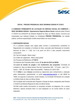 1 edital - pregão presencial sesc em minas gerais nº 27/2015 a