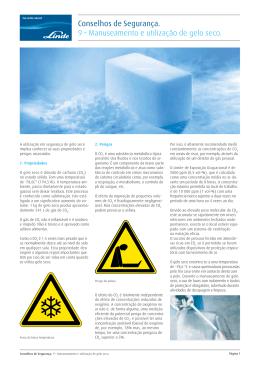 Manuseamento e utilização de gelo seco.
