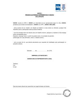 ANEXO I PREGÃO ELETRÔNICO SUPRIMENTOS Nº 190