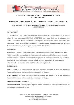 centro cultural dom aloisio lorscheider regulamento concurso para