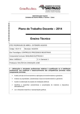 Plano de Trabalho Docente – 2014 Ensino Técnico