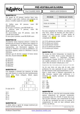 simulado enem 01 - matemática - Professor Daniel Reis