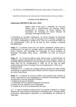 Deliberação CEETEPS Nº 009, de 9-1-2015