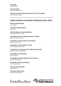 CEnTro ESTaDual DE EDuCação TECnolóGiCa Paula Souza