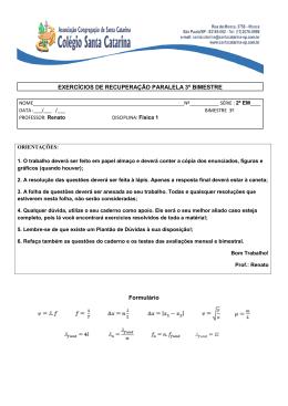 EXERCÍCIOS DE RECUPERAÇÃO PARALELA 3º BIMESTRE