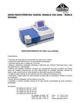espectrofotômetro visível modelo vis-320g