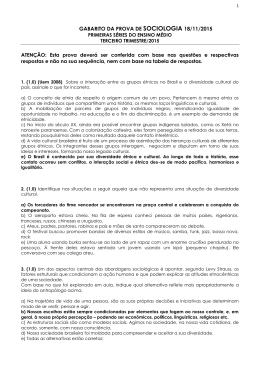 GABARITO DA PROVA DE SOCIOLOGIA 18/11/2015