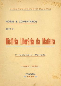 História Literária da Madeira - Vol. I
