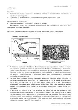 Aumento da dureza, resistência mecânica (limites