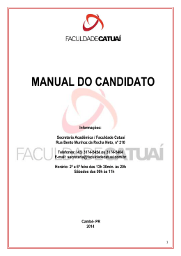 Manual do Candidato Vestibular 2015/2 Inverno