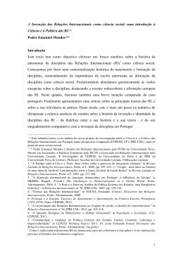 A Invenção das Relações Internacionais como ciência social