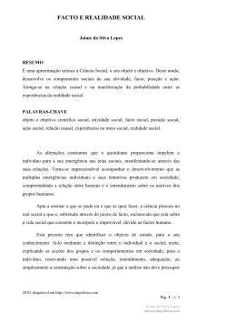 Texto: FACTO E REALIDADE SOCIAL, edição 2010