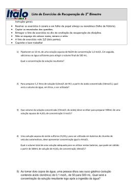 Lista de Exercícios de Recuperação do 2° Bimestre