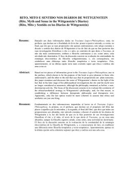 RITO, MITO E SENTIDO NOS DIÁRIOS DE WITTGENSTEIN (Rite