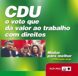 CDU o voto que dá valor ao trabalho com direitos