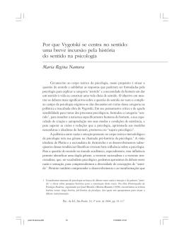 Por que Vygotski se centra no sentido: uma breve