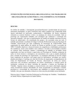 intervenções em psicologia organizacional e do trabalho