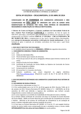 EDITAL Nº 023/2014 – CRCA/UNIFESSPA, 15 DE ABRIL DE 2014