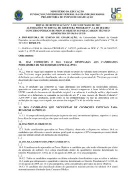 MINISTÉRIO DA EDUCAÇÃO FUNDAÇÃO UNIVERSIDADE