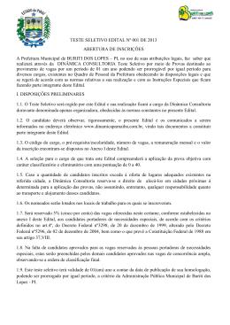TESTE SELETIVO EDITAL Nº 001 DE 2013 ABERTURA DE