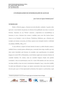 O PATRIARCALISMO EM SENHORA DE JOSÉ DE ALENCAR José