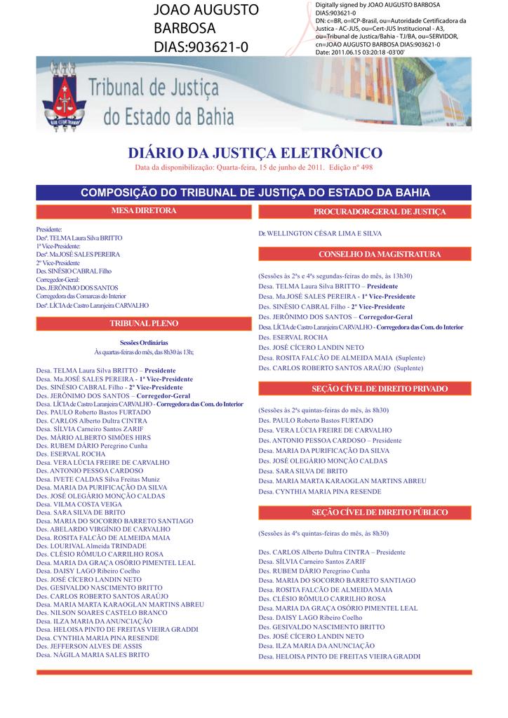 299caae85de40 DJE ADM 498.pmd - Tribunal de Justiça do Estado da Bahia